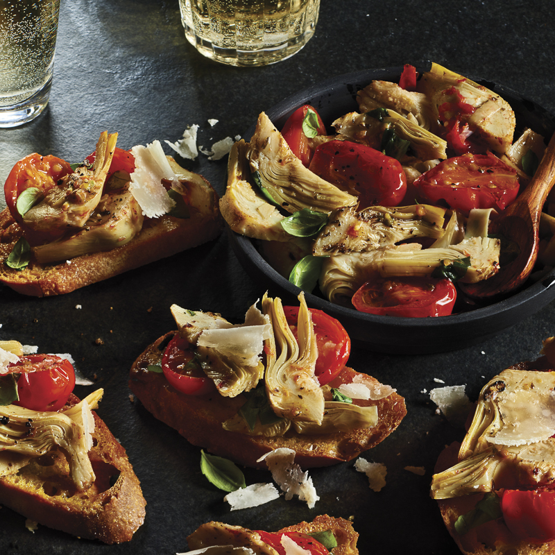 Artichoke and Roasted Tomato Crostini