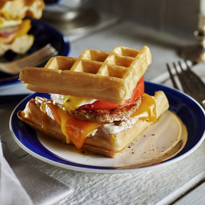 Breakfast Sausage, Egg and Cheddar Waffle-wich
