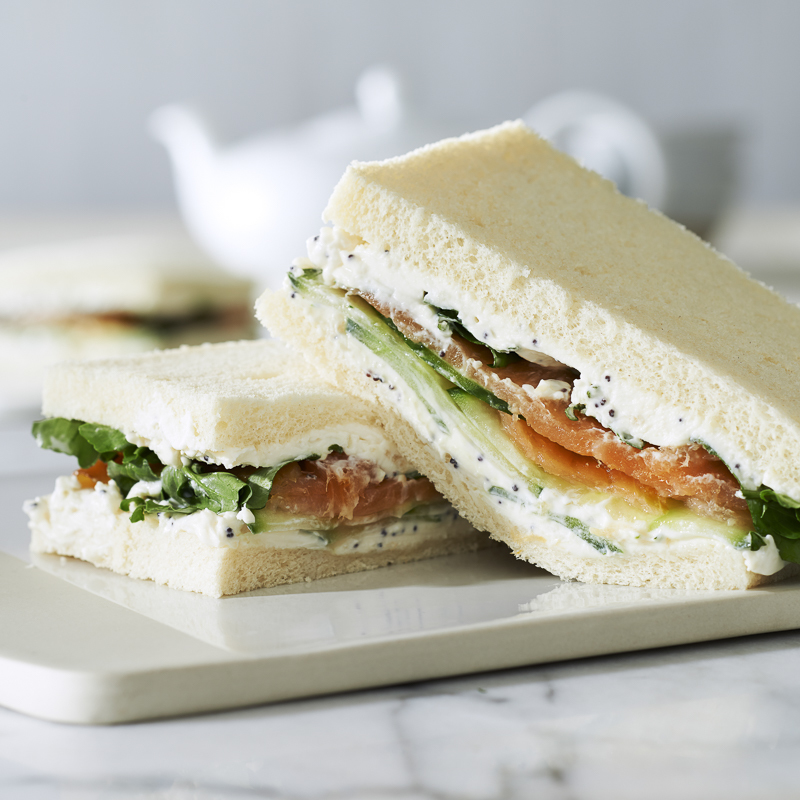 Everything Cream Cheese Sandwich with Salmon and Watercress