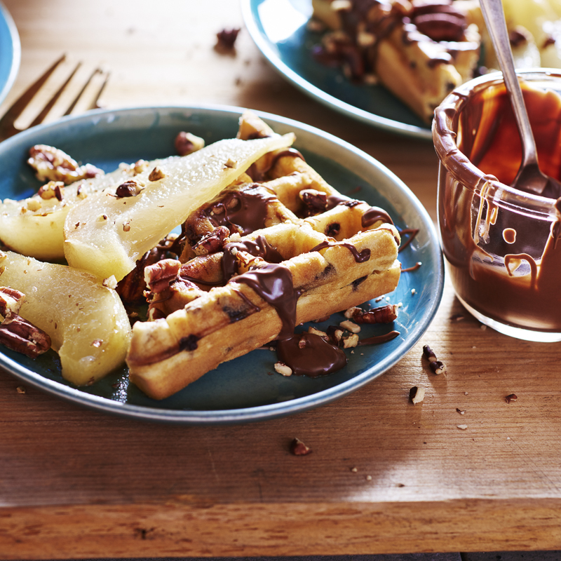 Hazelnut Pear Chocolate Chip Waffles