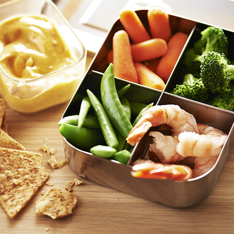 SHRIMP AND GREEN VEGETABLE BENTO BOX