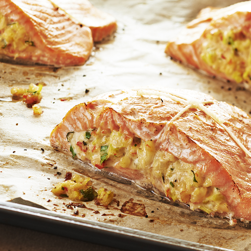 Shrimp and Leek Stuffed Salmon