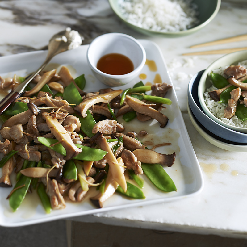 Spicy Mushroom and Chicken Stirfry