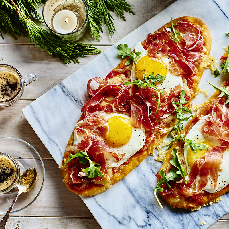 Sunnyside Egg and Iberico Ham Breakfast Pizza