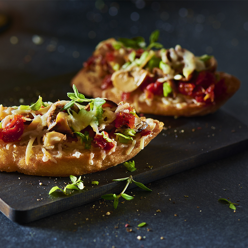 Warm Mushroom and Cheese Crostini