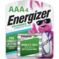 Recharge Power Plus Rechargeable AAA Batteries, 4 Pack