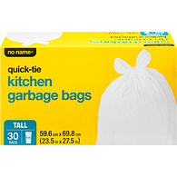 Quick-Tie Kitchen Garbage Bags, Tall