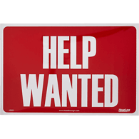 Help Wanted Sign, Red/White 8 x 12 in