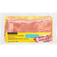 Bacon, Mild Sugar Cured with Reduced Salt, Uncooked