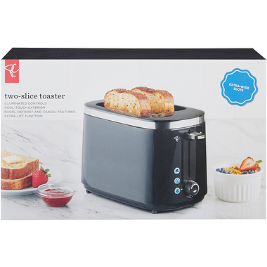 PC 2 Slice Toaster Black