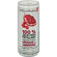 100 % jus de fruits pétillant grenade et canneberge
