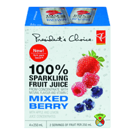 100% Sparkling Fruit Juice, Mixed Berry