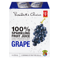 100% Sparkling Fruit Juice, Grape