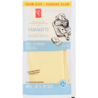 Cheese, Havarti Slices 25% Less Fat Club Pack