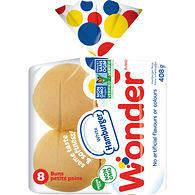 8 Pack Hamburger Buns, White