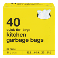 Quick-Tie Kitchen Garbage Bags, Large