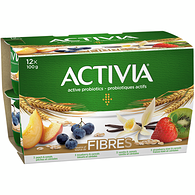 Fibre Vanilla-Cereal/Peach-Cereal/Blueberry-Cereal/Strawberry-Kiwi-Cereal 2.9% M.F. Probiotic Yogurt,12x100g