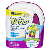 Flushable Sensitive Toddler Wipes, Tub 50ct