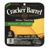 Cracker Barrel Cheese Slices, Medium Cheddar