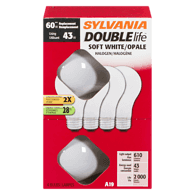 A19 Halogen Double Life 43=60W Replacement Light Bulbs, Soft White