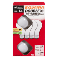 A19 Halogen Double Life 72W=100W Light Bulbs, Soft White