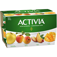 Yellow apple/Apricot/Mango/Peach 2.9% M.F. Probiotic Yogurt,12x100g