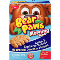 Bear Paws Morning Snack, Cereal & Blueberry Yogurt