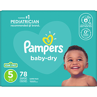 Baby Dry, Super Pack Size 5 Diapers