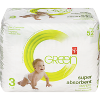GREEN Super Absorbent Diapers, Size 3 Diapers