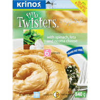 Fillo Twisters, Spinach & Feta Cheese