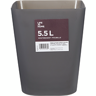 5.5-Litre Square Trash Can, Grey