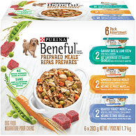 Beneful Prepared Meals Savoury Rice & Lamb Stew, Simmered Chicken Medley, and Roasted Turkey Medley Variety Pack Dog Food 6-283g Cans