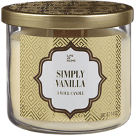 Scented 3 Wick Candle, Vanilla