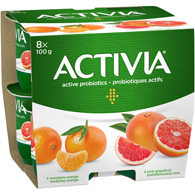 Yogourt Activia, mandarine orange/pamplemousse rose