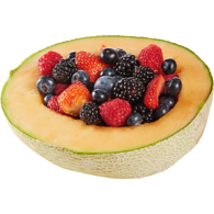 Half Cantaloupe with Berries