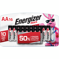 MAX Alkaline AA Batteries, 16 Pack
