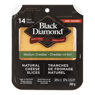 Natural Cheese Slices, Medium Cheddar