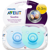 Soothie Shapes Pacifier Purple Blue and Green 0-3m