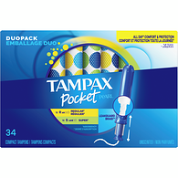 Emballage duo de tampons compacts Tampax Pocket Pearl