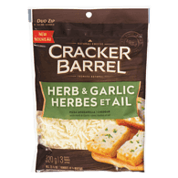 Cracker Barrel Shredded Cheese, Herb Garlic