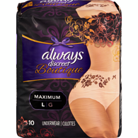 Discreet Boutique, Incontinence Underwear for Women, Maximum Protection, Large