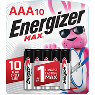 MAX Alkaline AAA Batteries, 10 Pack
