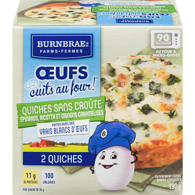 Burnbrae Fermes Œufs Cuits au Four! Quiches Sans Croûte 2 Quiches