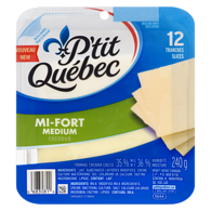 P'tit Québec Fromage Cheddar Mi-Fort 35 % M.G. 12 Tranches