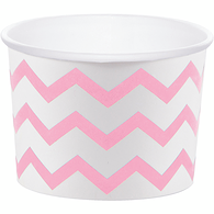 Treat Cup, Classic Pink and White, Chevron Stripe