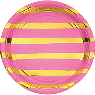 Foil Striped Plates, Candy Pink