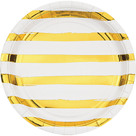 Shiny Foil Stripe Paper Plates, White and Gold