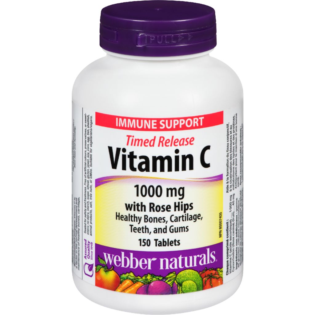 Timed Release Vitamin C with Rose Hips 1000 mg 150 Tablets